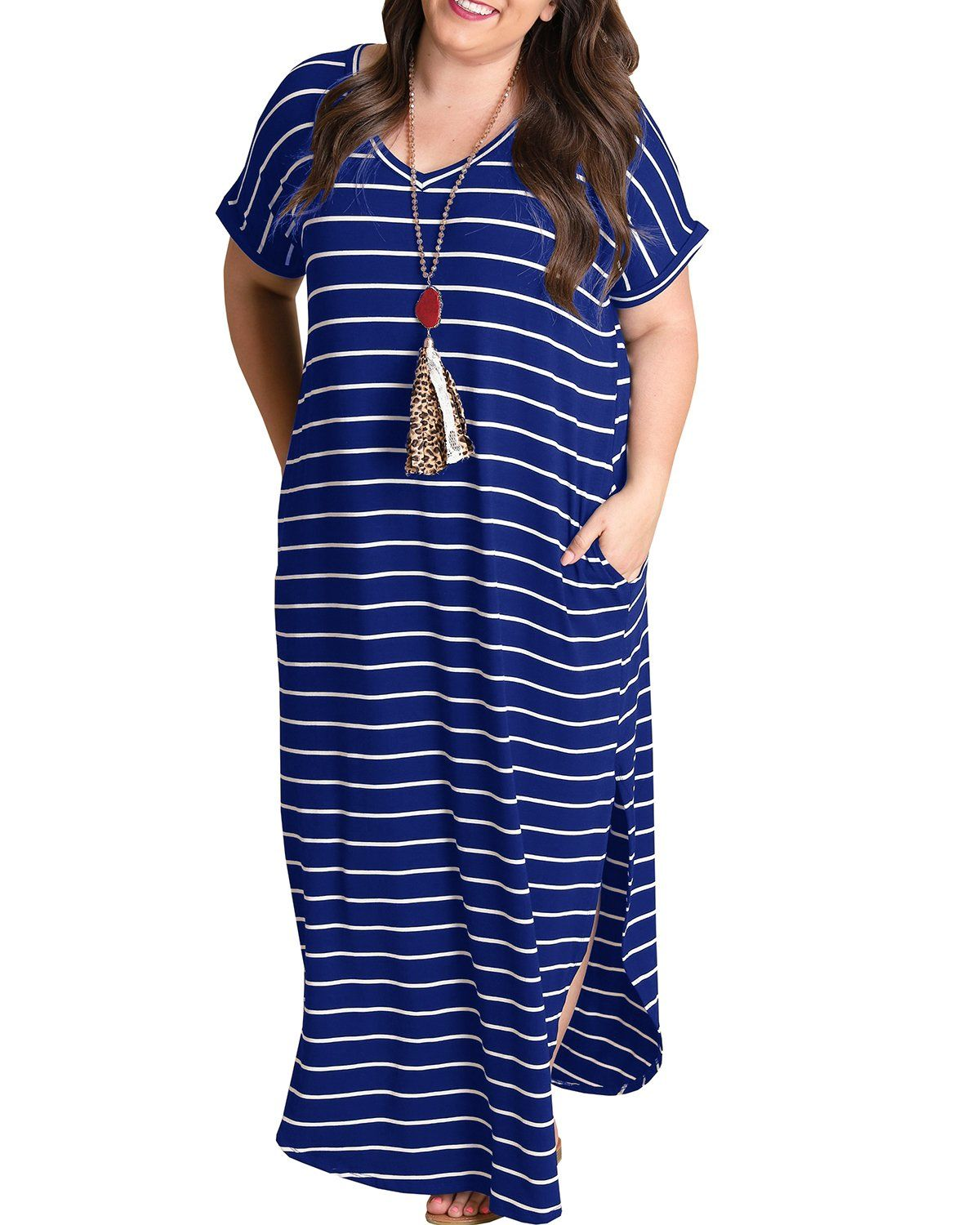 ee160822d2d9a Maternity Fashion - casual maternity dresses   Rotita Women Striped Maxi  Dress Plus Size Short Sleeve Loose V Neck Maxi Dresses with Pockets XLarge  Blue ...