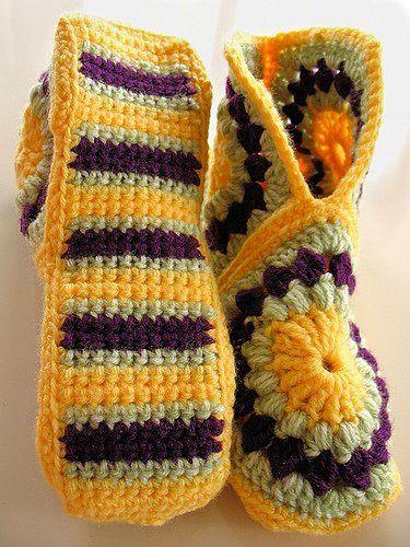 Patron Crochet Zapatillas Granny | Alfileteros | Pinterest | Warme ...