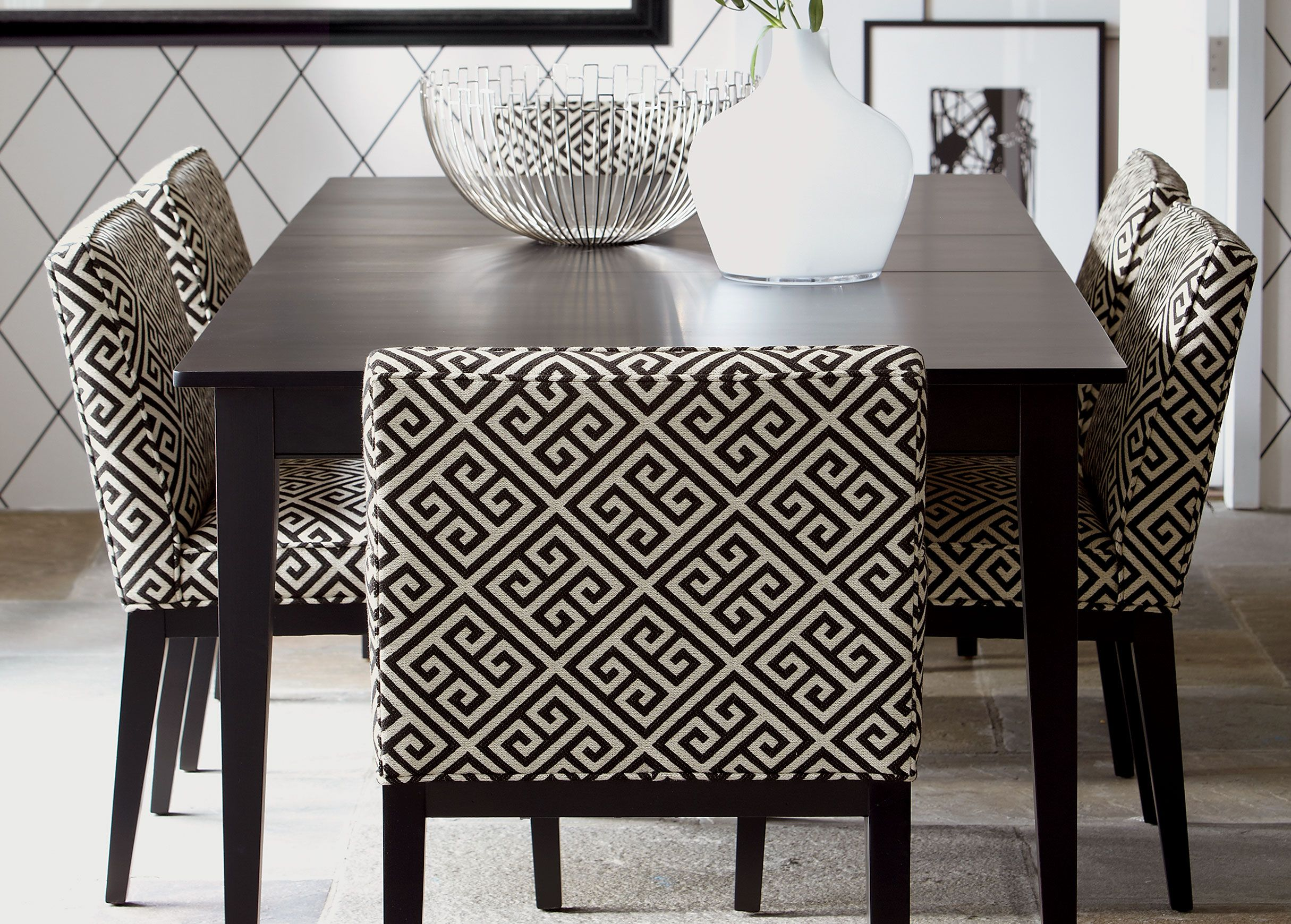 Using This Table, Yellow Upholstered Parsons Chairs And Gray Patterned  Armchairs At Head Of Table