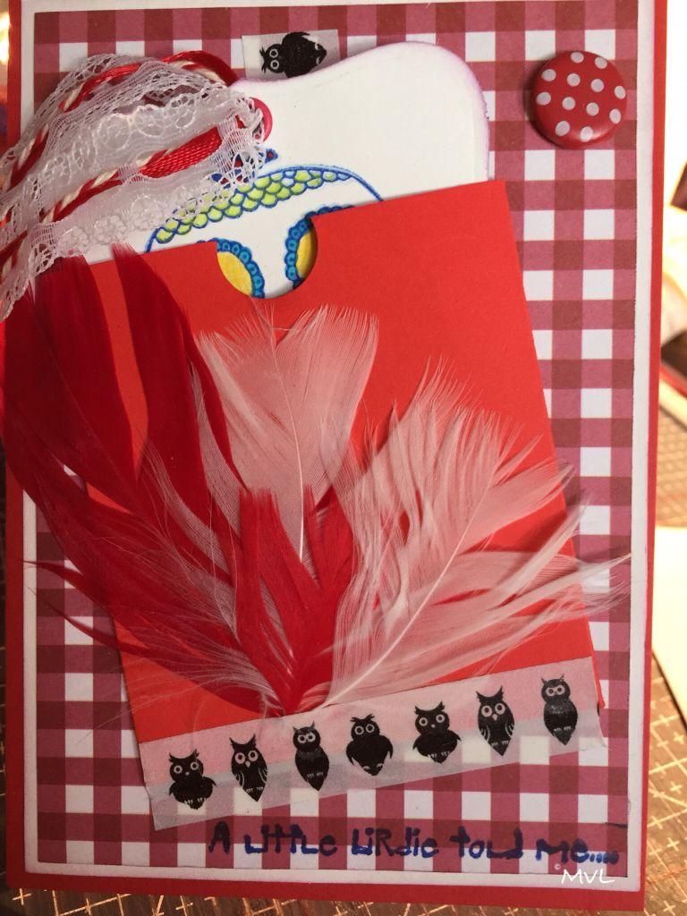 Verjaardagskaart met veren en een uil