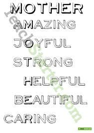 Image result for acrostic poem using the word mother