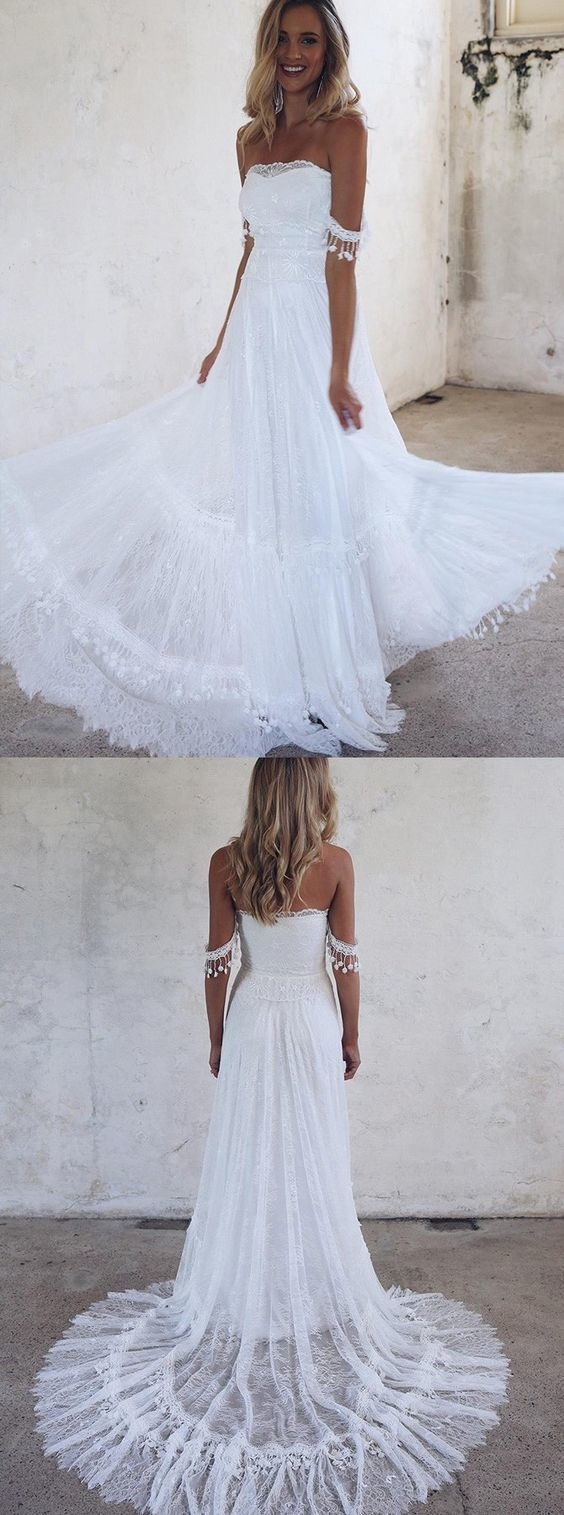 Aline offtheshoulder lace beach wedding dress with appliques