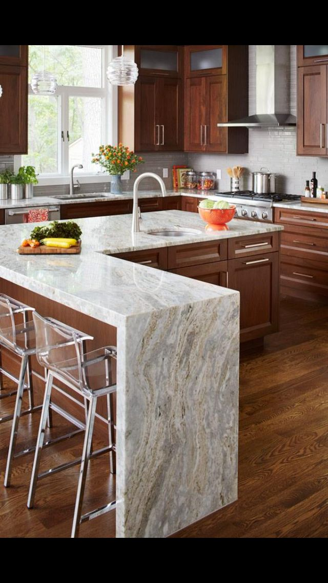 Waterfall Countertops And Color  Kitchen Ideas  Pinterest Impressive Timber Kitchen Designs 2018