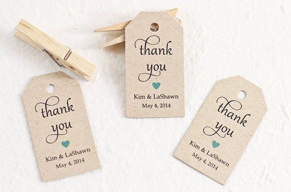 Wedding Favor Tag Thank You Personalized Gift Bridal Shower