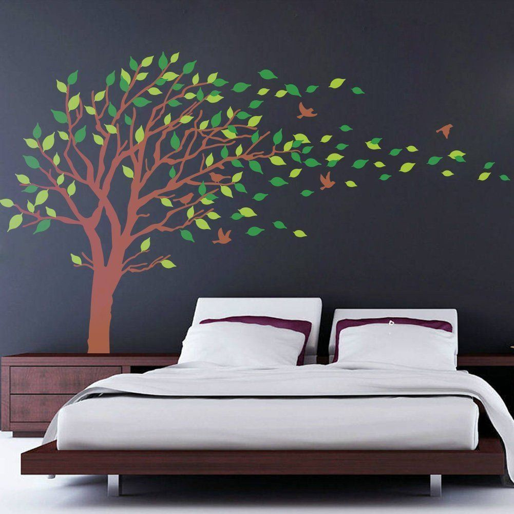 Large Brown And Green Tree Blowing In The Wind Tree Wall Decals Wall