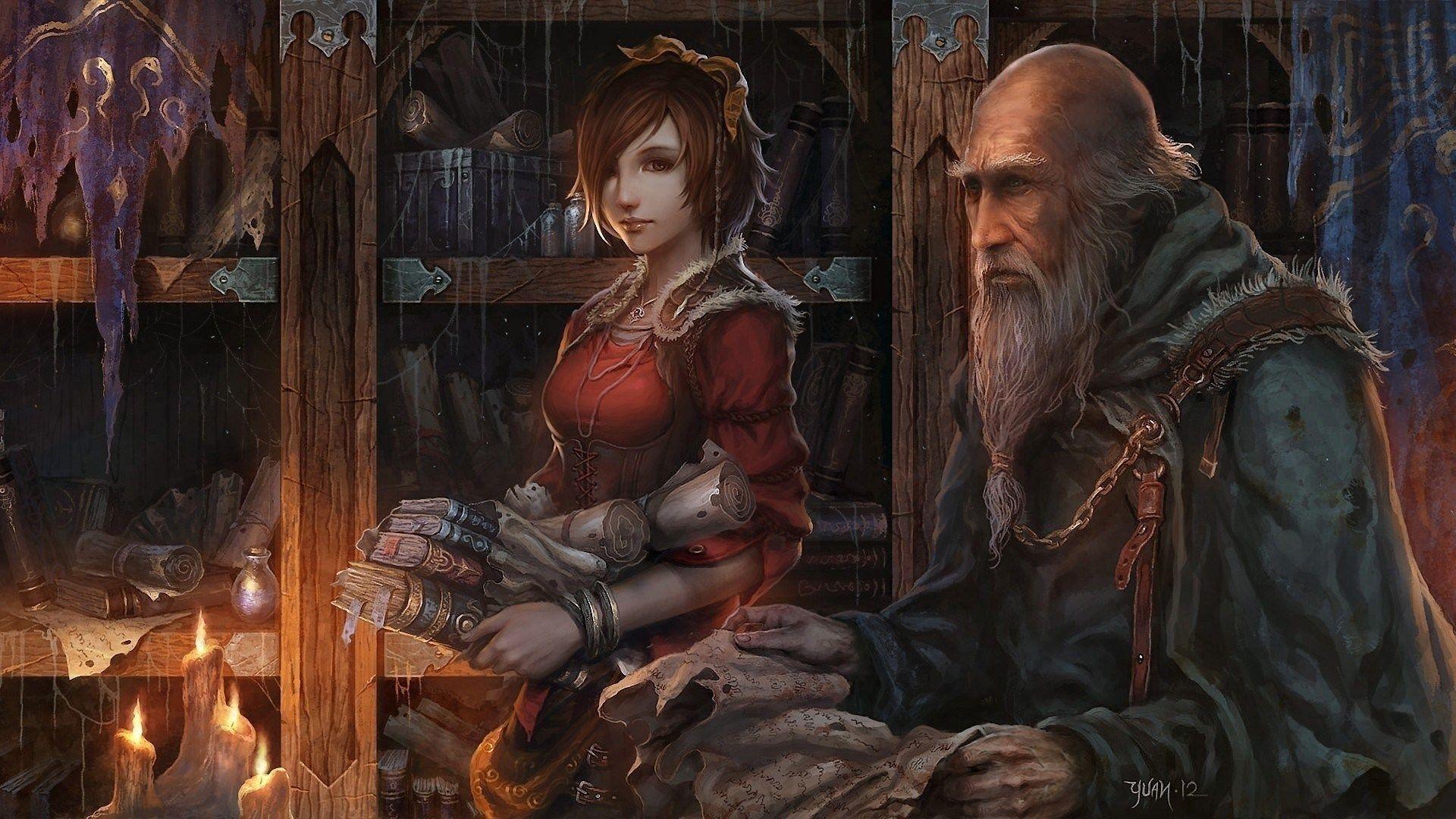 Tomes Scrolls Master Apprentice Fantasy Art Vistalore