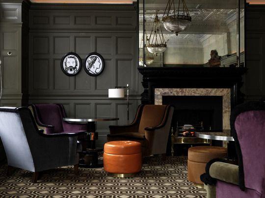 Atmospheric. London's Coburg Bar, interior designed by India Mahdavi.