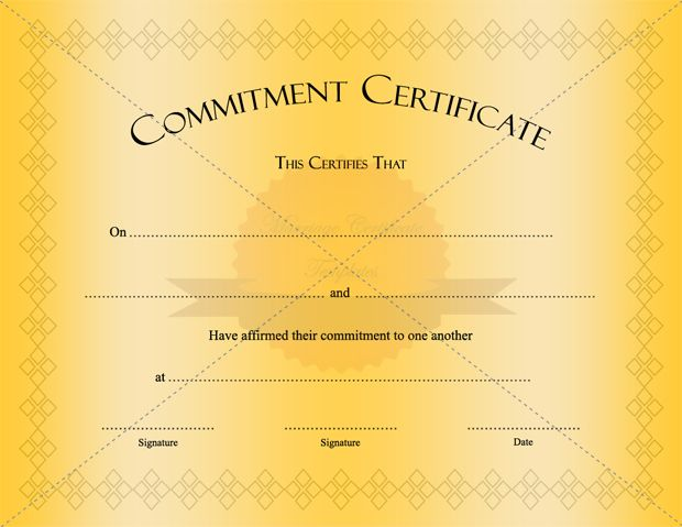 Golden Color Commitment Certificate Template - army certificate of achievement template