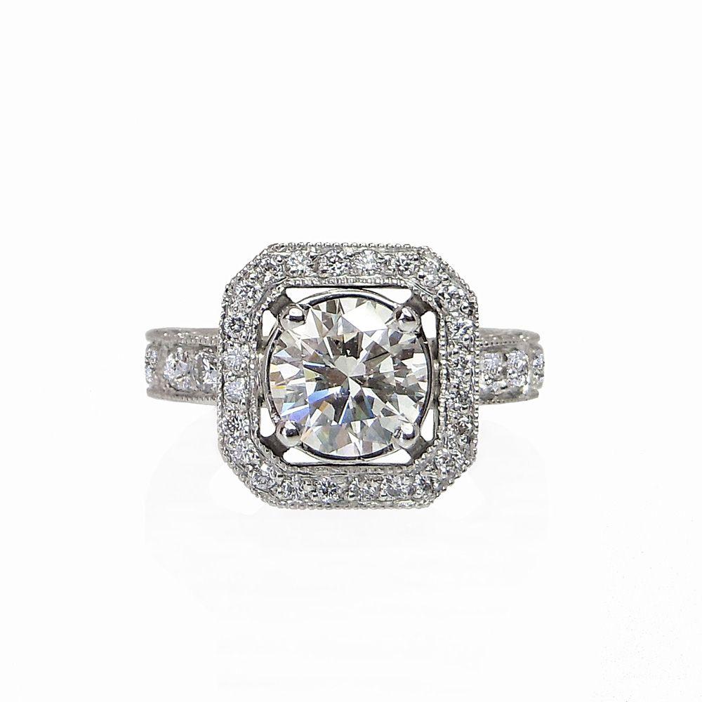 bianca custom made octagon halo diamond engagement ring. #halo