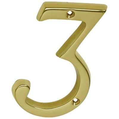 Schlage Sc23036605 Polished Brass Address Numbers 4 Inch Height Number 3 Solid Brass House Number By Schlage Lock Company 5 Classic House House Numbers Brass