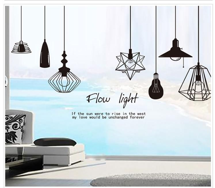 1pcs lamp light wall sticker home decoration decals wallpaper window bedroom baby children kid house
