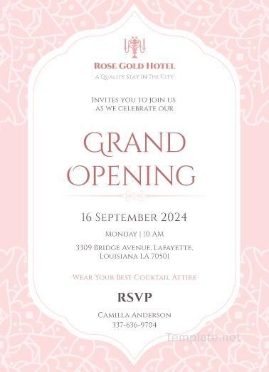 free hotel opening invitation card