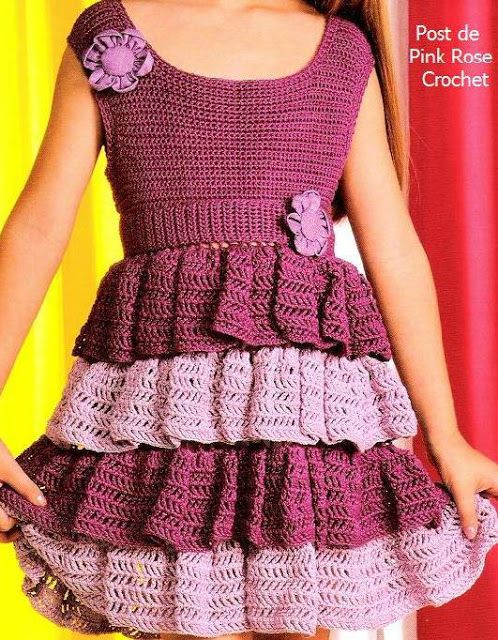 girl's crochet dress with flouncy skirt - charted schematics