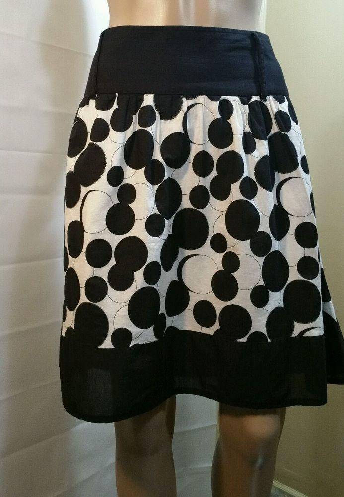 Star City Women's Junior's Skirt White Black Polka Dot Knee Length Size 13  #StarCity #ALine