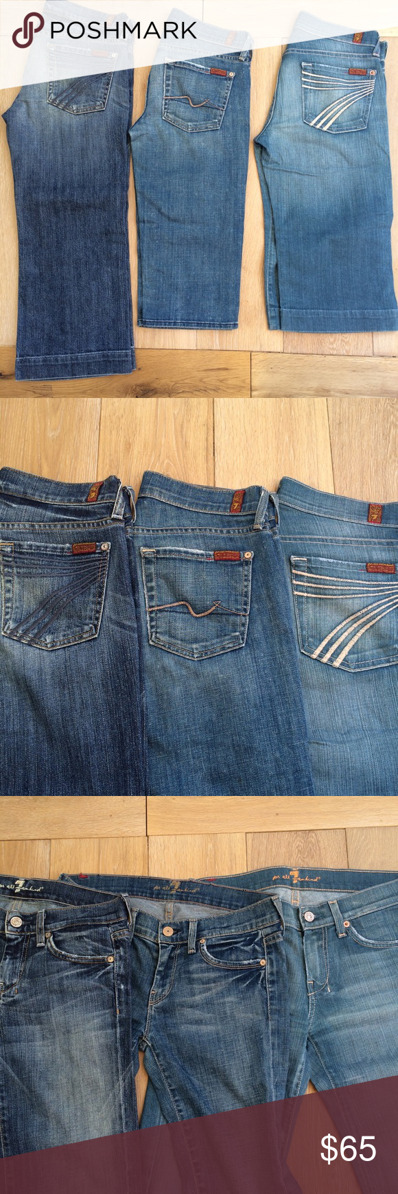 "7FAM Crop Bundle Long one approx 20"" inseam. Other two approx. 15"" inseam. 7 For All Mankind Jeans Ankle & Cropped"