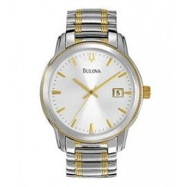 Bulova Men's Two Tone Watch w/ Round Stainless Steel Dial