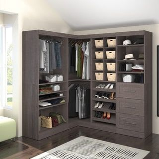 Costco Closet Systems | John Louis Espresso Woodcrest Closet System    15293214   Overstock.com .