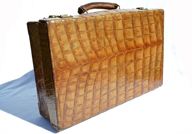 1930's-40's Antique ALLIGATOR Skin Travel Case Briefcase Luggage ...