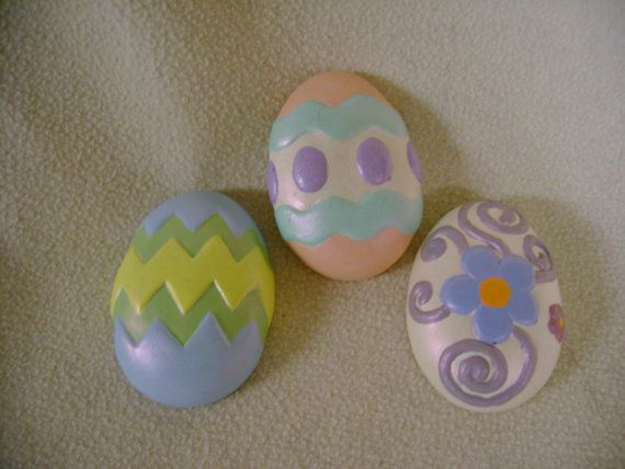 Set of 3 Easter Egg Magnets by cubby13 on Etsy. , via Etsy.