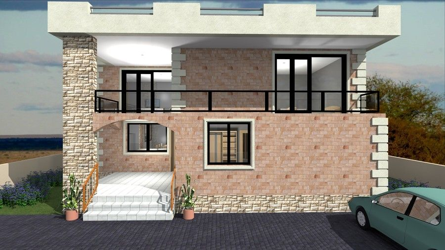 Contest entry 25 for redesign my house and render with a modern flat roof with parapet wall Redesign my house