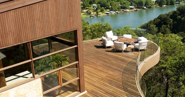 Liked on Pinterest: Love this deck's mid-century lines  and of course the sweeping canyon view of Austin! #dreamhouseoftheday