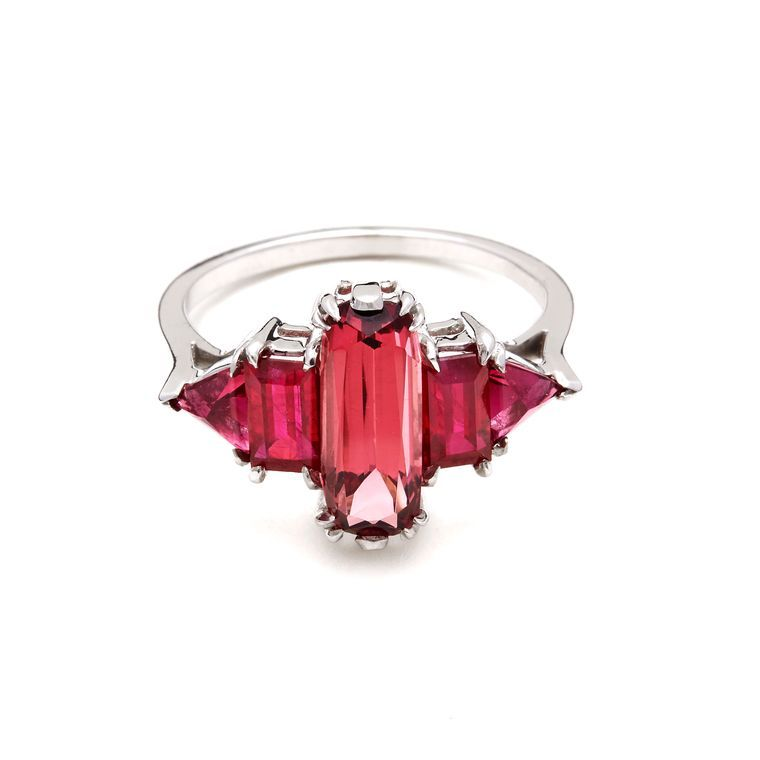 Anna Sheffield Theda pink tourmaline, rubies and white gold ring