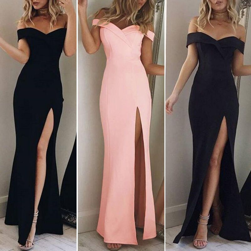 Women\'s Off Shoulder Casual Long Maxi Evening Party Cocktail Beach ...