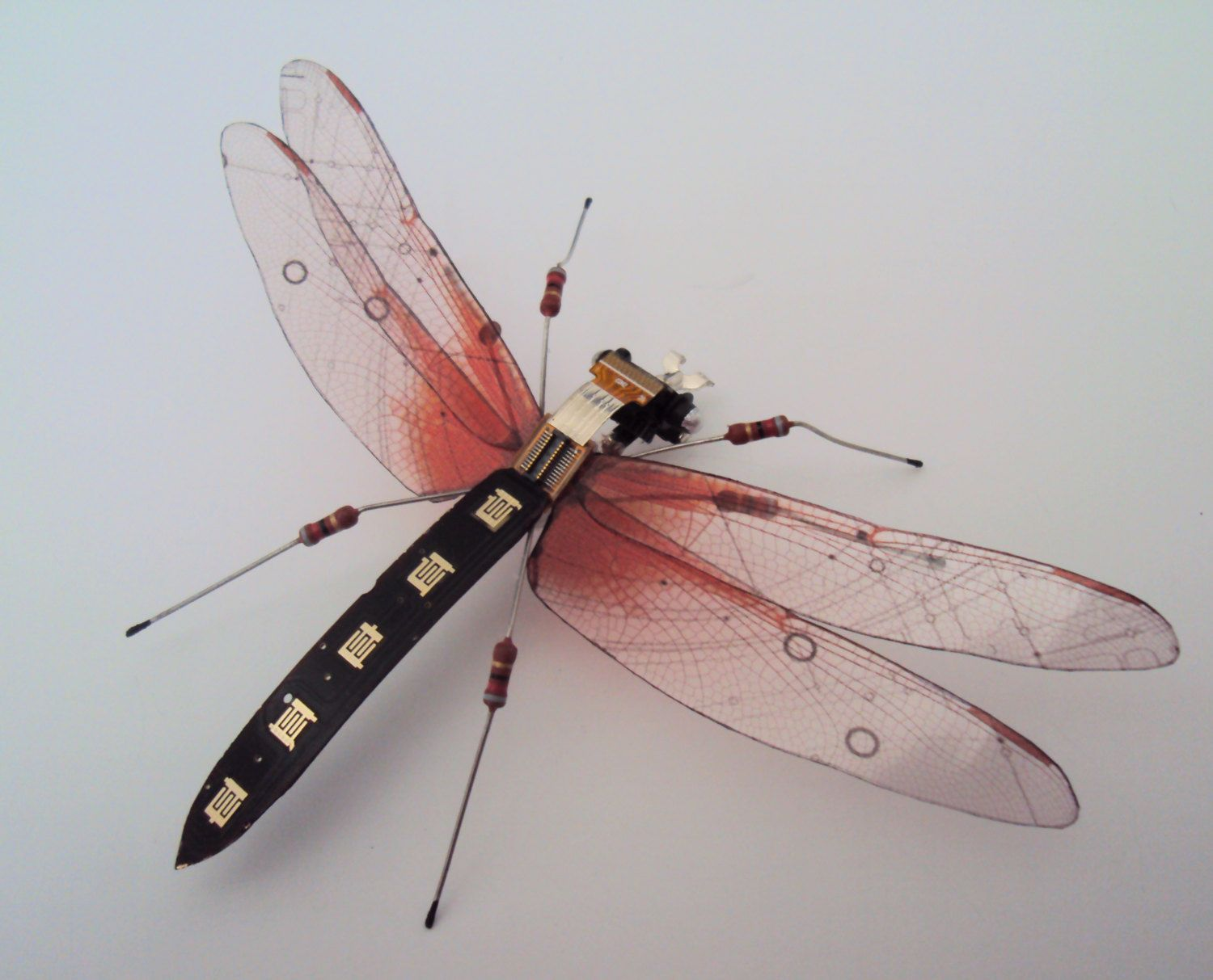 The Black And Red Computer Component Dragonfly By Dewleaf