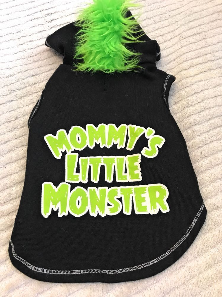 Dog Hoodie Size S Pet Clothes Black Color Green Mohawk Mommys Little Monster Ebay Dog Hoodie Pet Clothes Black Outfit
