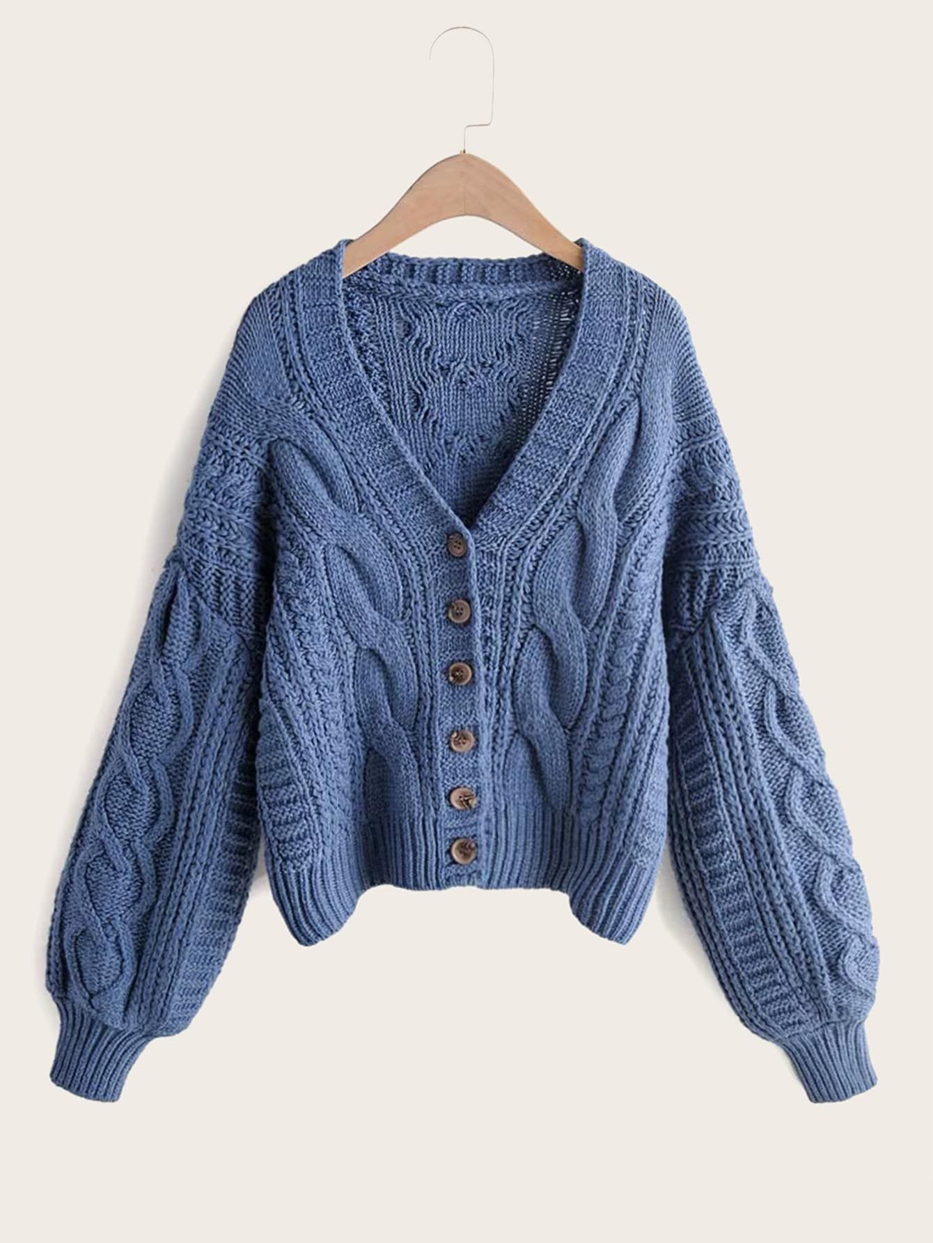 Fine Knit Button Up Plain Grey Cardigan