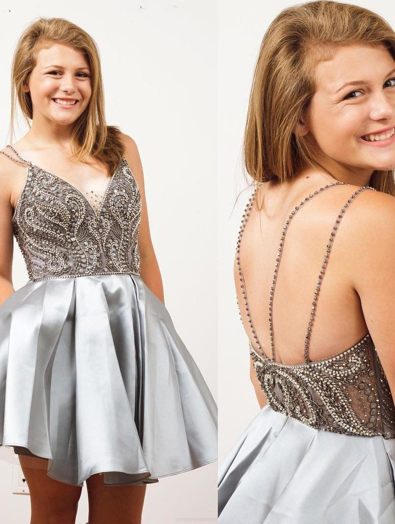 Vneck homecoming dresses silver short homecoming dresses sexy