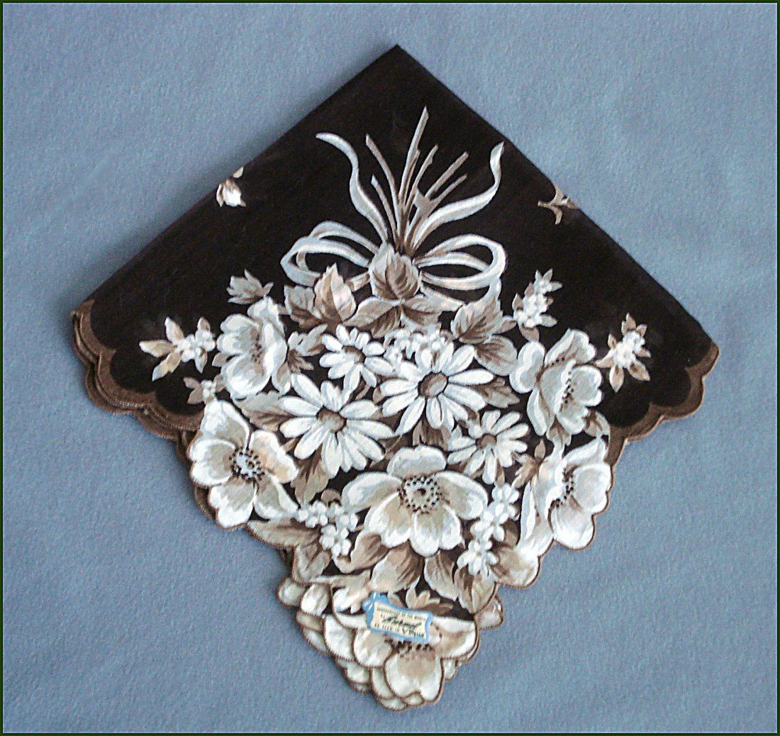 Burmel Vogue  Vintage Floral Bouquet Handkerchief - Hanky - Brown White Scalloped Edges - Estate Linen