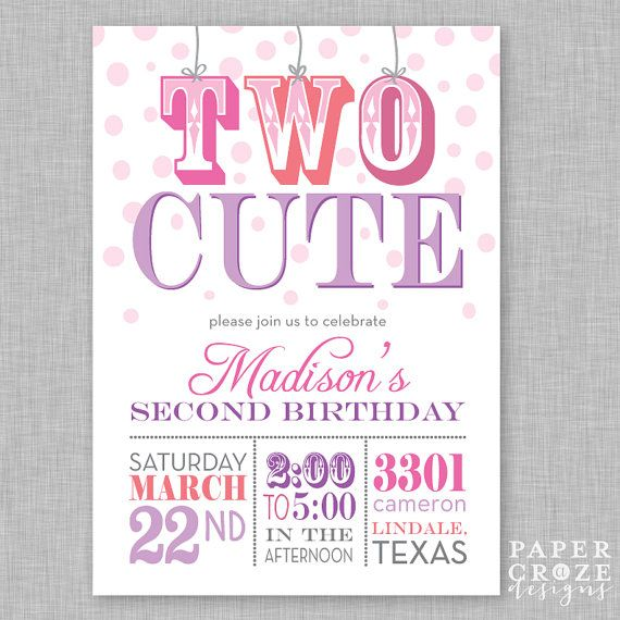 girl s second birthday party invitation two cute girl or boy one