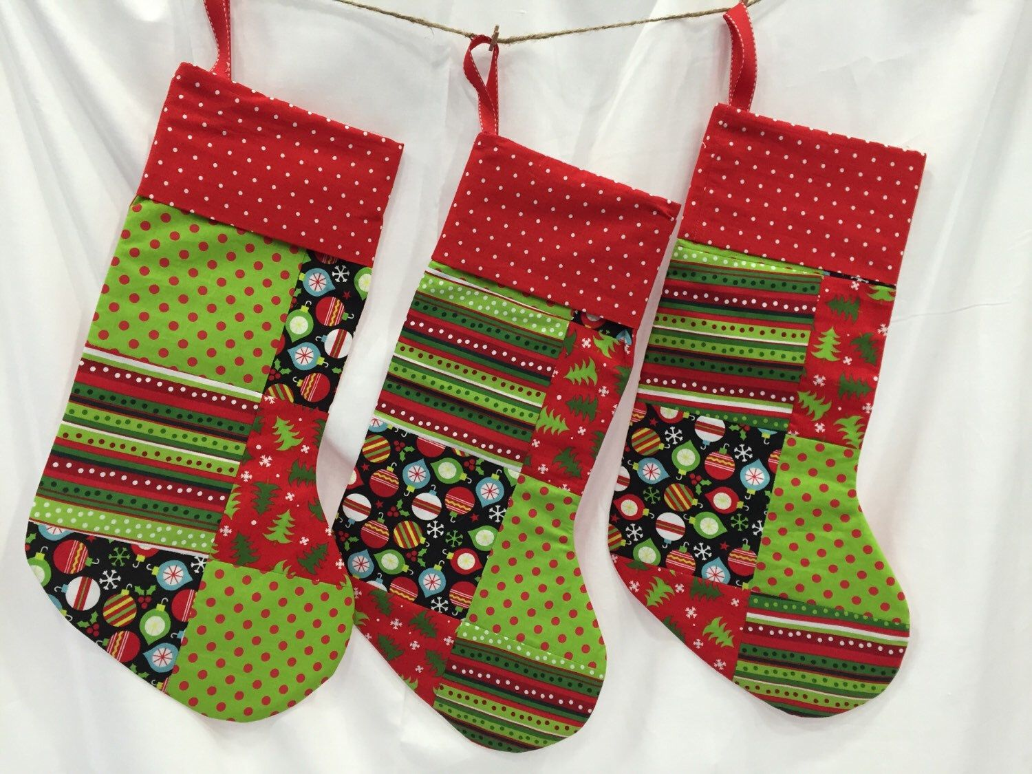 Patchwork Christmas Stockings by BarleyHill on Etsy https://www.etsy.com/listing/253258205/patchwork-christmas-stockings