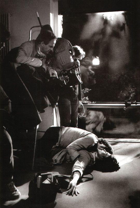 "Francois Truffaut directing Fanny Ardant and Gérard Depardieu on the set of ""The Woman Next Door"" 1982."