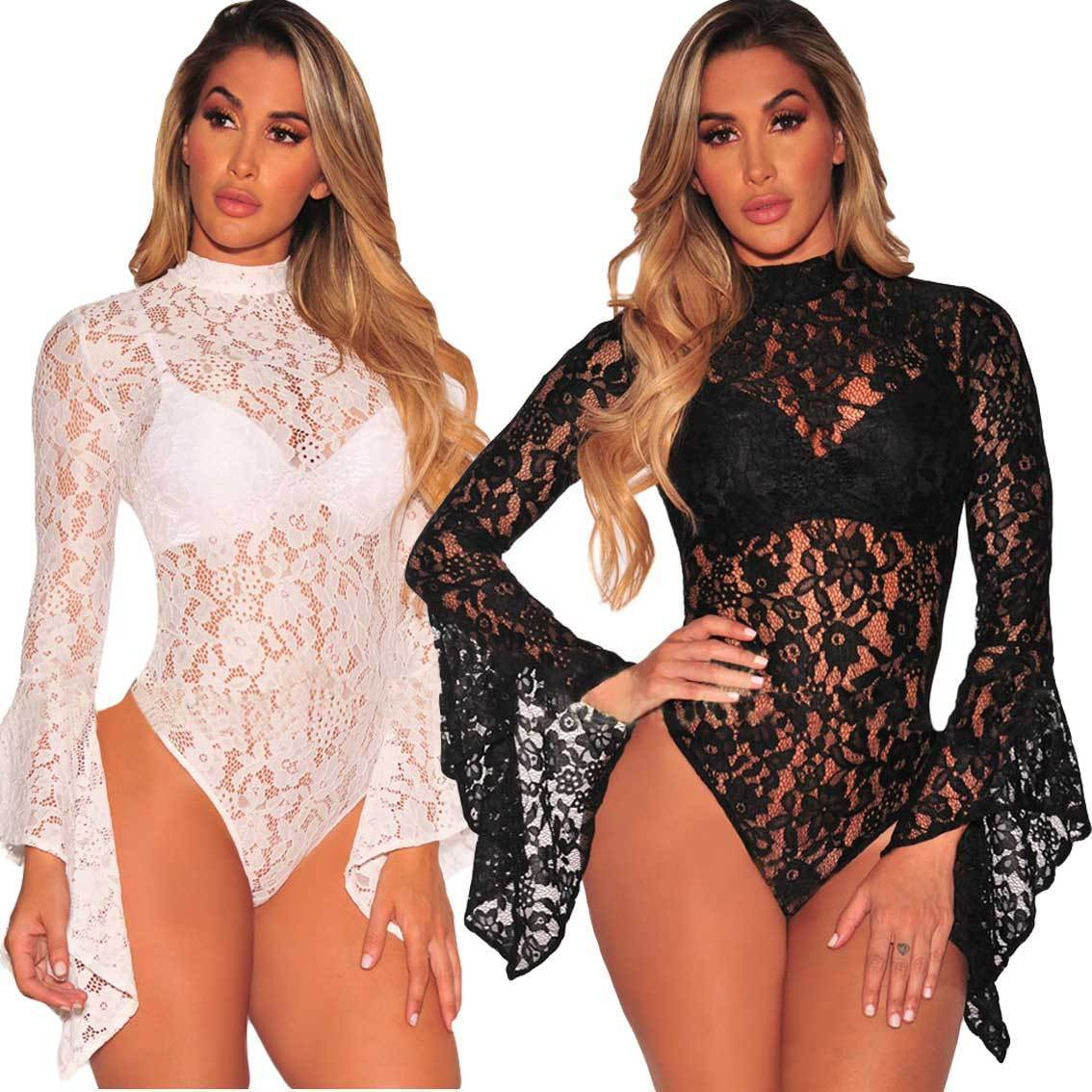 Womens Black Lace Long Sleeve Lingerie Hollow Out Lingerie Backless Sheer Bodysuit