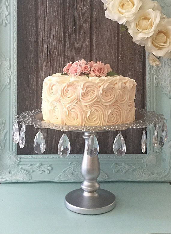 Silver Wedding Cake Stand with Crystal Drops by FarmHouseFare