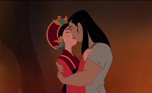 Images:Mulan 1998 Ming Na Wen(voice of Mulan) Eddie Murphy(voice of Mushu) man and woman kissing.jpg