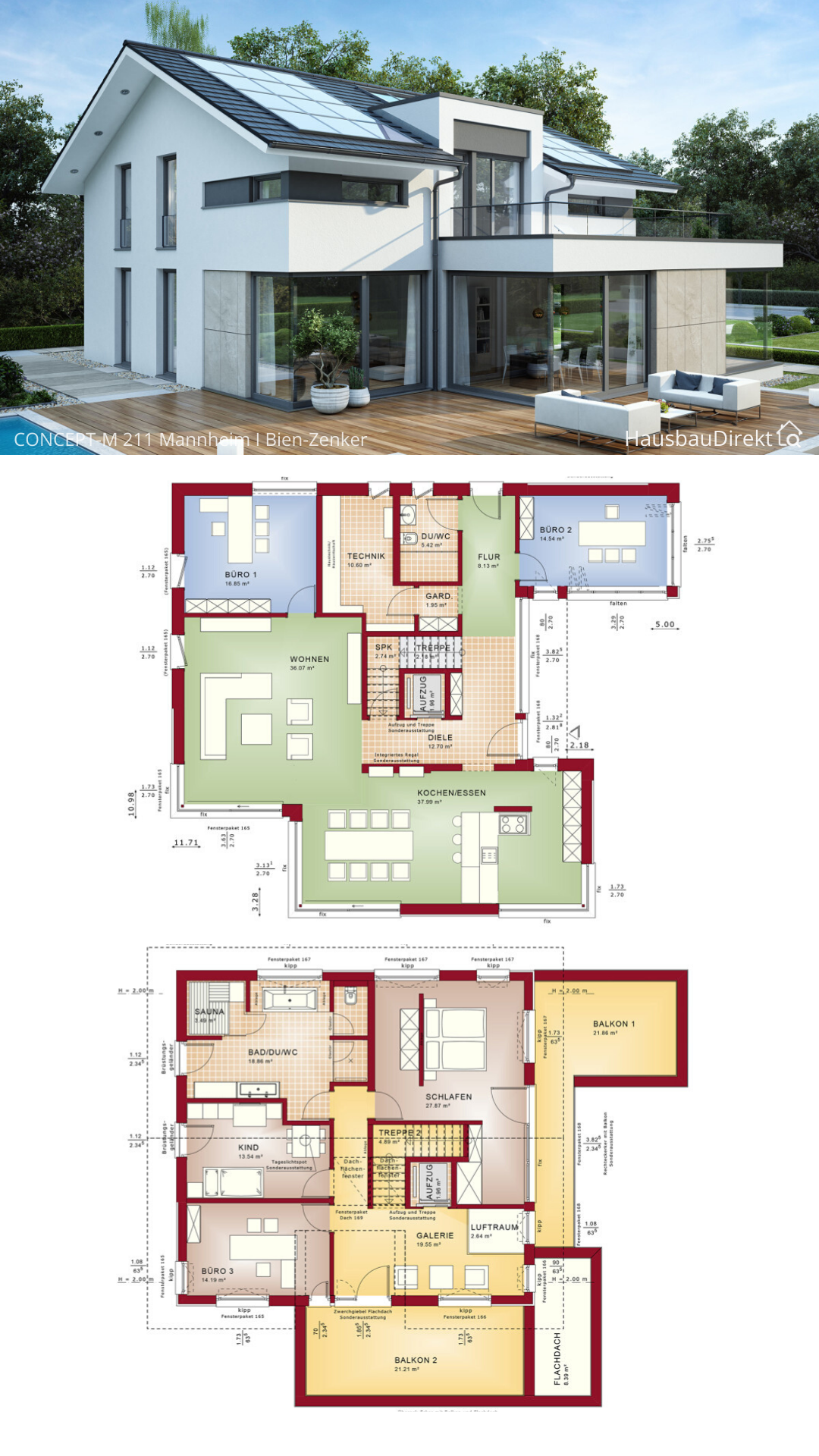 Einfamilienhaus Grundriss modern offen mit Satteldach Erker & Balkon bauen Haus Ideen Fertighaus