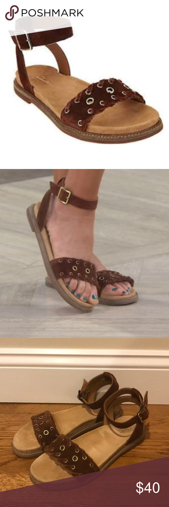 d2d2f161f11 Clarks Corsio Amelia Ankle Strap Suede Sandals 8 Clarks Corsio Amelia  Sandals! These suede sandals