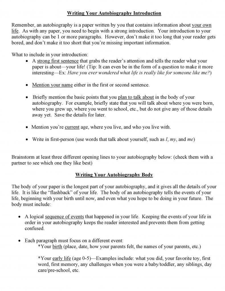 Download Autobiography Template 10 Writing Favorite Memory Essay
