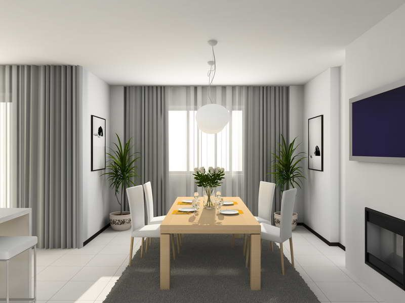How To Choose The Perfect Curtains And Drapes Modern Kitchen. 3D Render U2013  My Fancy