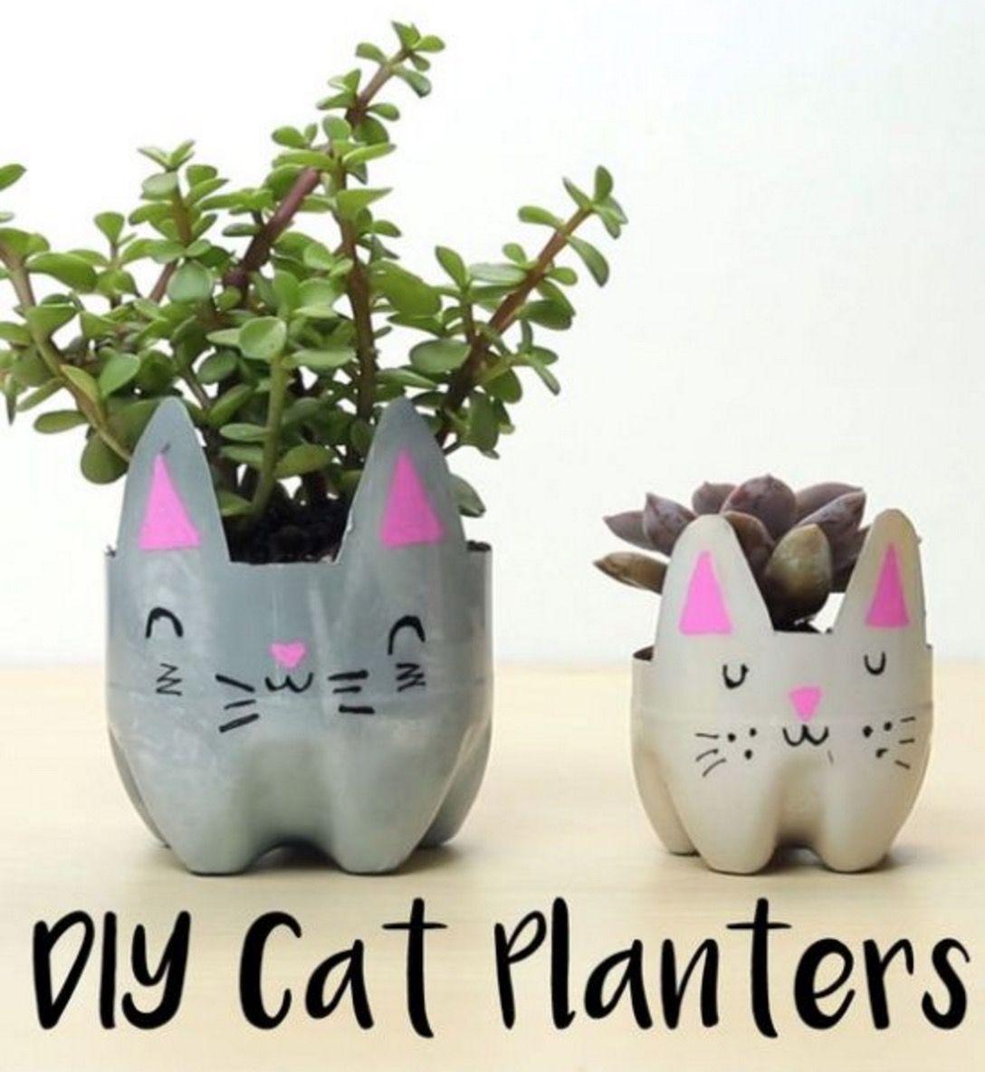 Plastic Bottle Cat Planter Is A 5 Minute Craft Kids Crafts