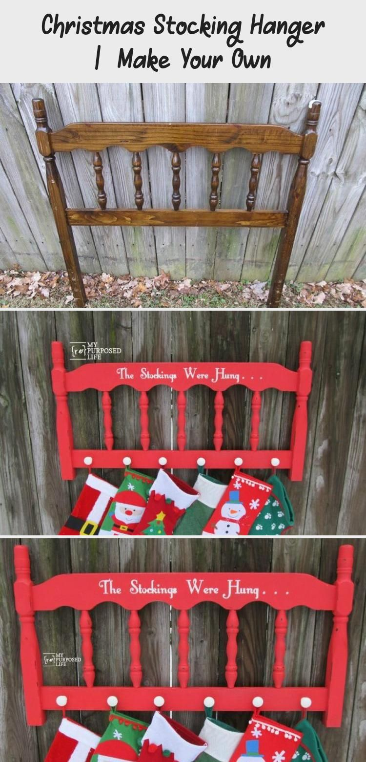 Christmas Stocking Hanger  Make Your Own headboard stocking holder MyRepurposedLife