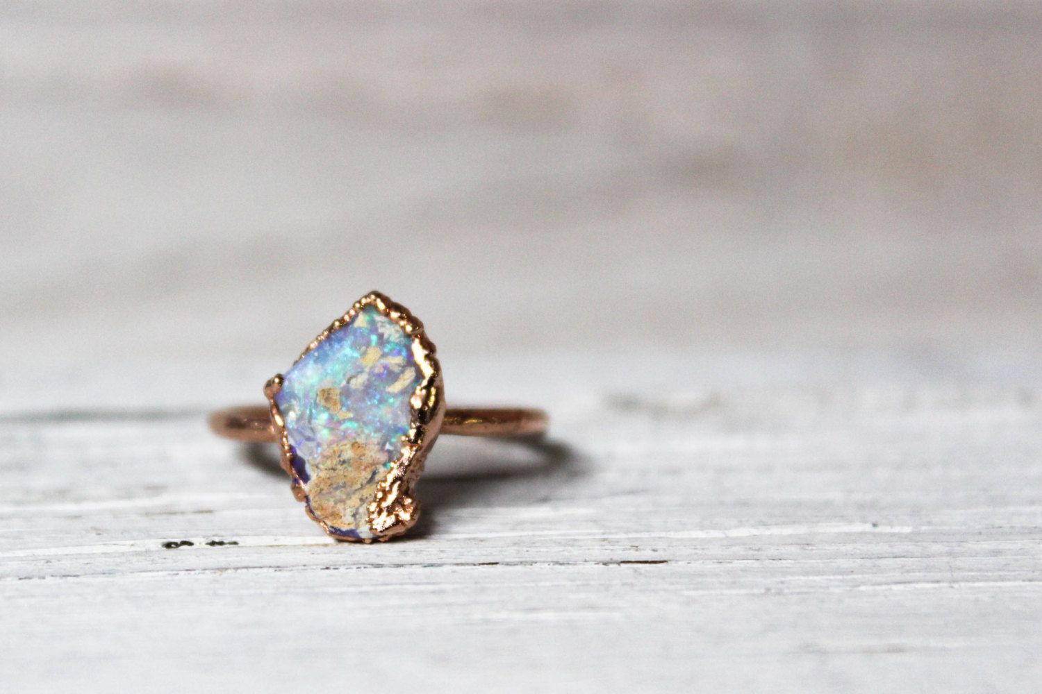 Raw Opal Engagement Ring Natural Australian Bohemian Stone October Birthstone Crystal In Rose Gold Created