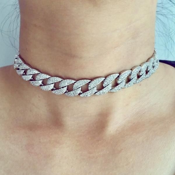 ab41f2ddc Cuban Chain Design Diamond Link Choker in Silver Gold or Rose Gold Plating. Cubic  Zirconia