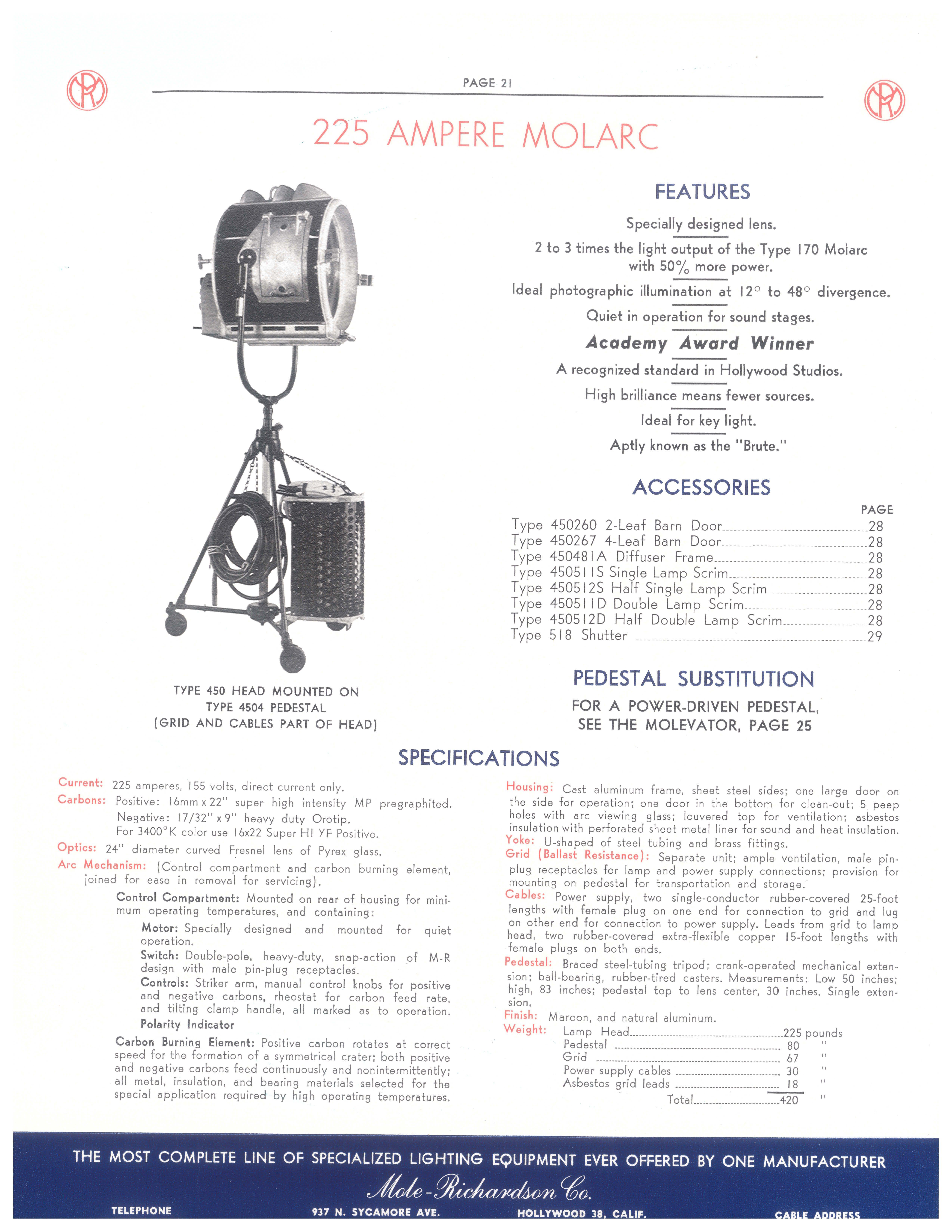 Type Mr 450 225 Ampere Molarc Http Www Mole Com Mole Light