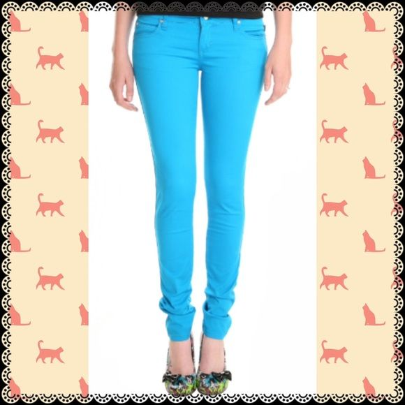 **SOLD** Turquoise Skinny Jeans by Tripp NYC Turquoise T-back skinny jeans by Tripp NYC. Size 7. In almost new condition, worn a few times to school. **Also included in the Tripp NYC and Royal Bones Jeans Bundle in my closet** Tripp nyc Jeans Skinny