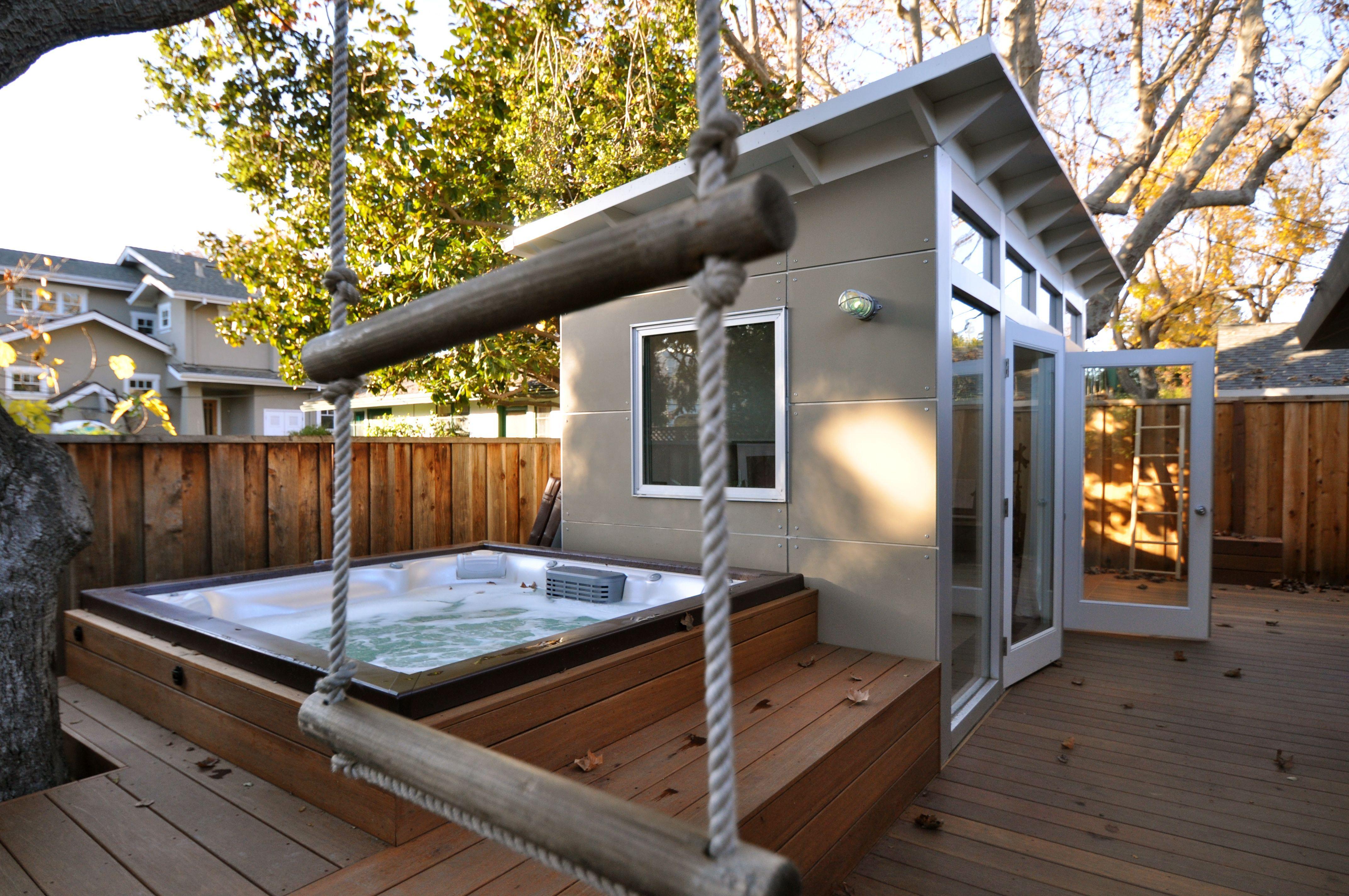 Www.studio Shed.com 8x14 Studio Shed Home Office And Music Studio Creates A  New Outdoor Space U0026 Backyard Retreat: A Wrap Around Deck, Hot Tub, An Kidu0027s  Play ...