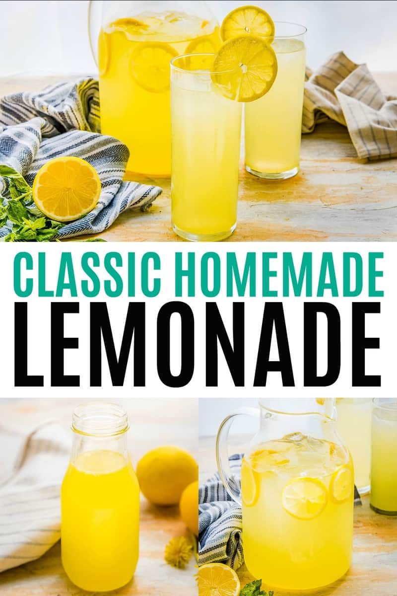 Classic Homemade Lemonade is the epitome of summer! Sweet, tart, and refreshing, it's perfect for lounging with friends on the porch, and backyard BBQs! #RealHousemoms #lemonade #4thofjuly #brunch #homemadelemonaderecipes
